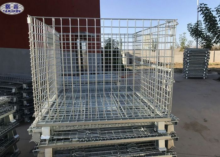 Size Customized Wire Mesh Pallet Cages , Metal Folding Collapsible Pallet Cages
